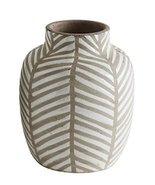Creative Co-Op DA6984 Small White Terra Cotta Vase with Stripes - $24.99