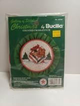 Christmas Bear Hoop Bucilla Kit 32763 Cross Stitch Kit Vintage New Sealed   - $7.99
