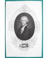 THOMAS JEFFERSON President - 1856 Portrait Print Ornamental Border - $26.96