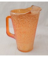 Vintage Large Jeannette Glass PITCHER Marigold Tree Bark Iridescent Carn... - $39.59