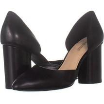 Nine West Charles Block Heel Pumps 184, Black Leather, 8 US - $23.99