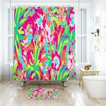 Flower Lilly Lulu Pattern 05 Shower Curtain Waterproof & Bath Mat For Bathroom - $15.30+