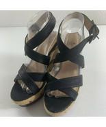 Tallulah Blue Womens Wedges Heels Size 8 Black Rope Heel Mock Crock Platforms - $18.81