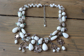 White and Silver Bead Necklace Adjustable 16 - 19 inches - $24.74
