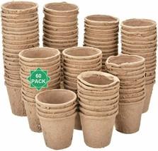 Plant Starter Peat Pots Seedling Seed Starting Germination 60Pcs Biodegr... - $19.30