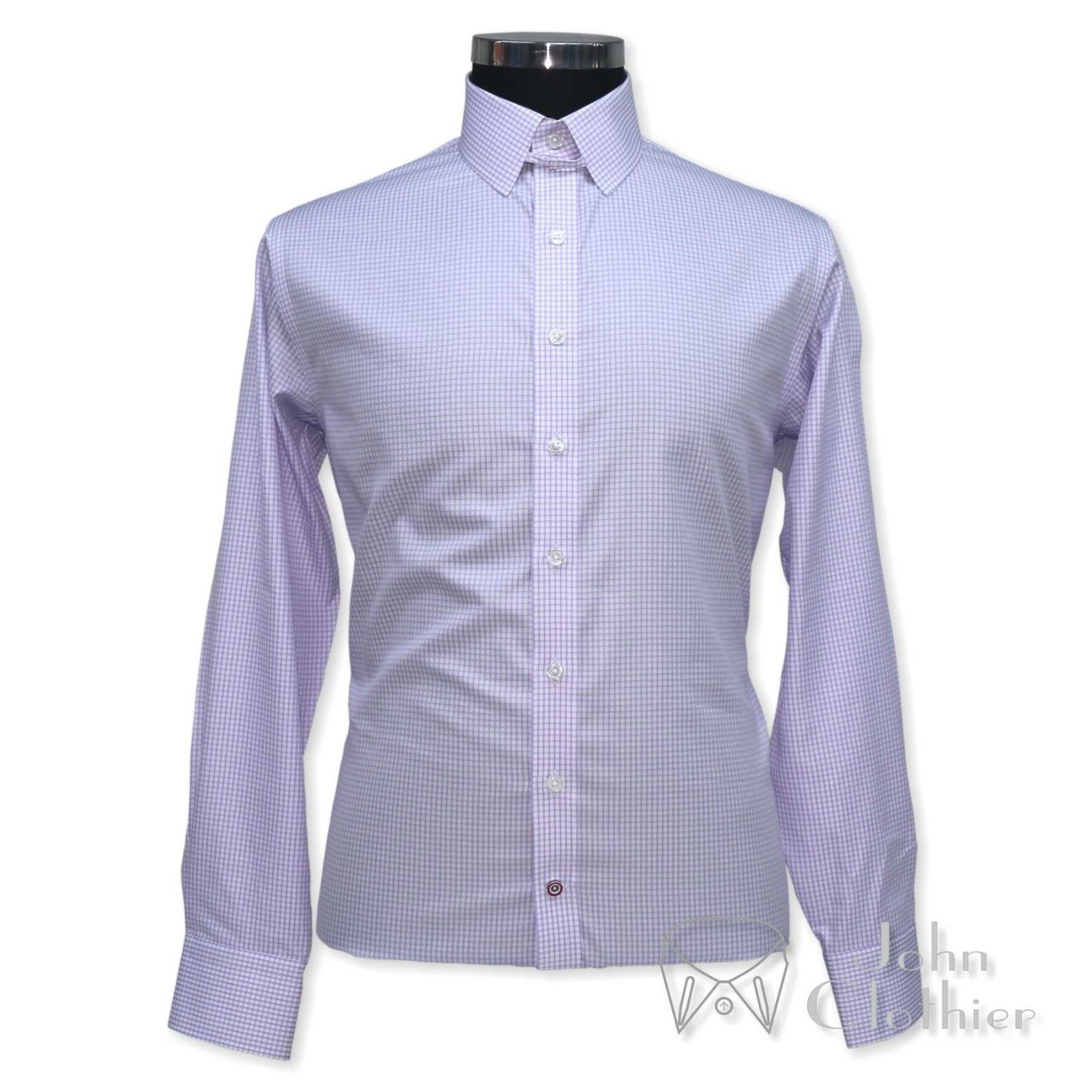 New Mens Cotton shirt Tab collar Lilac White checks Loop Bond collar Cufflinks