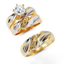 10kt Yellow Gold Over His & Her Trio Diamond Engagement Ring Set With Free Gift - $145.23