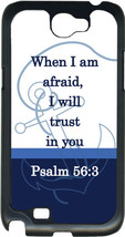 Multi Blue Anchor with Psalm 56:3 on Samsung Galaxy Note II 2 Hard Case Cover - $13.95