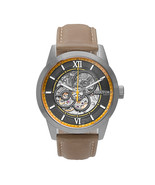 Heritor Automatic Jonas Leather-Band Skeleton Watch - Silver/Bronze - $640.00