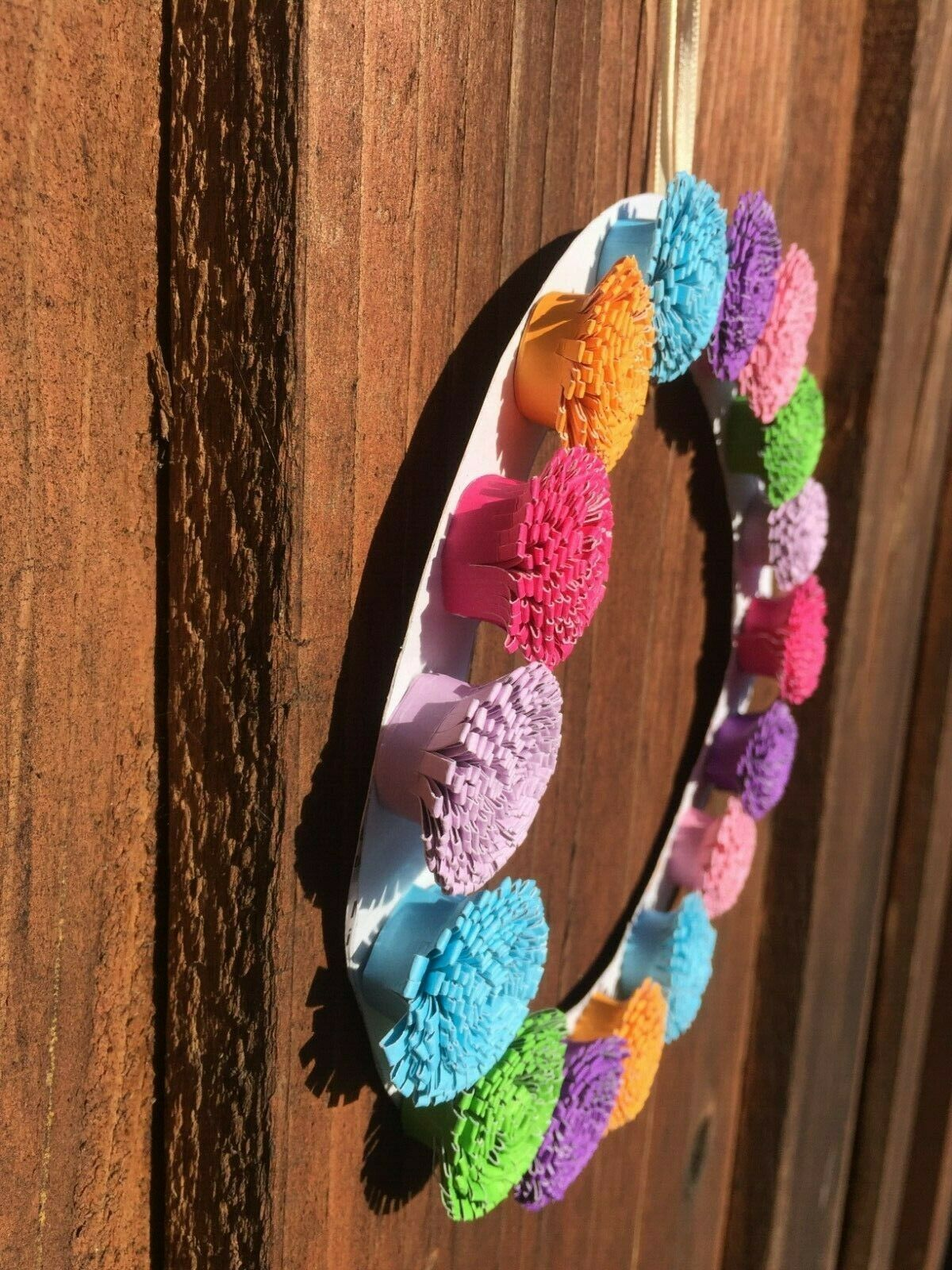Paper Flower Multi Color Handcrafted Round Wall Decor