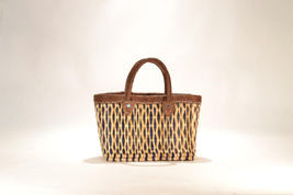 Hand woven market basket. Small. Purple/Natural Diamond Weave.  - $29.00