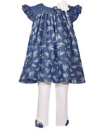 Bonnie Jean So Cute Printed Denim Dress and White Leggings Set,2T-6 - $31.35