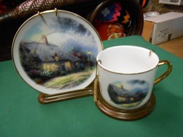 """Great Decorative Thomas Kinkade """"Moonlight Cottage"""" Cup & Saucer With Stand - $9.50"""