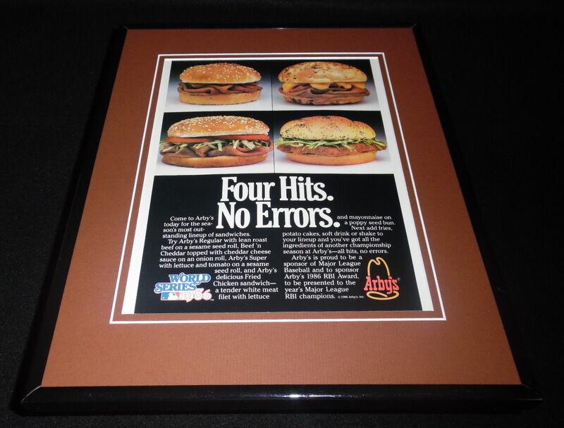 1986 Arby's / World Series Framed 11x14 ORIGINAL Vintage Advertisement B