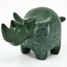 Vaneal Group Hand Carved Kisii Soapstone Green Rhinoceros Rhino Figure Kenya image 2