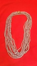 Long Vintage Lavender Beaded Necklace 60 Inches w/ Floral Fastener #6122 - $49.00