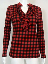 Nwt $49 Chaps Red Black Ruffled Top Shirt S - $14.99