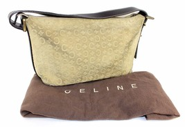 Auth CELINE C Logo Olive Suede & Brown Leather Hobo Shoulder Bag Italy ... - $127.71