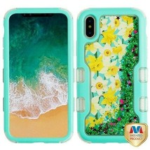 For APPLE iPhone XS/X Spring Daffodils Flowing TUFF Glitter Hybrid Case ... - $13.39
