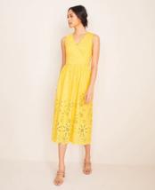 Ann Taylor Petite Scalloped Eyelet Flare Dress, Yellow, Cotton, Size 12P... - $99.99