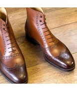 Men brown Leather Wingtip ankle leather boots Men hand burnish brogue an... - $179.99