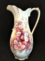 Vintage Ucagco Ceramics Japan Pitcher Handpainted Floral Gold Trim 10 in... - $63.36