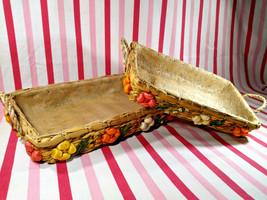 Swell Vintage 1970's Floral Raffia 2pc Wicker Casserole Caddy Baskets w/... - $20.00