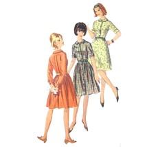 Vtg 60s Simplicity 6042 Junior Shirtwaist Dress Long Short Sleeve A-Line... - $9.95