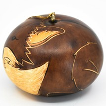 Handcrafted Carved Gourd Art Brown Fox Forest Animal Ornament Made in Peru image 2