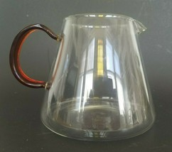 VTG Hand Blown Clear Glass Coffee/Tea Pitcher-Carafe with Applied Amber ... - $11.65