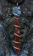 Handcrafted Mahogany Obsidian Needle Turquoise Copper Wire Wrap Adjustable  - $24.99