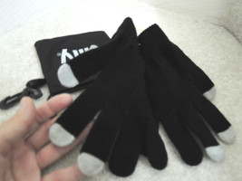 Winter Gloves ONE SIZE Fits All - Black With Gray Tips In Drawstring Bag... - $7.91 CAD