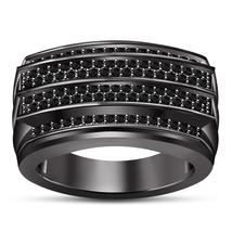 Black Gold Over 925 Sterling Silver Black Diamond Mens Wedding Anniversa... - $104.99