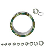 "PAIR-Crystal Multi Green Gems In Steel Screw On Ear Tunnels 19mm/3/4"" Ga... - $14.99"