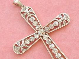 """ANTIQUE 2.48ctw MINE & ROSE DIAMOND PLATINUM 2-3/8"""" STATEMENT CROSS PEND... - $4,454.01"""