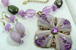 Lavender Enamel Crystal beads large Pendant Necklace & Earrings set B.T. Signed - $30.89