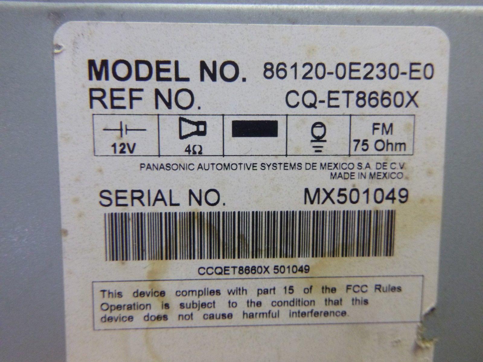 08 09 10 Toyota Highlander Radio 6 Disc Cd Player 51858 86120-0E230 Mechanism B