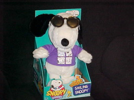 """13"""" Laughing Smiling Snoopy Plush Toy With Movable Shades Mint & Box Hasbro 1999 - $59.39"""
