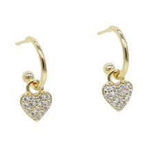 tiny cute lovely cz Heart drop charm earring 925 sterling silver classic... - $25.45