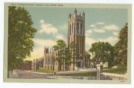 Fall River MA First Congregational Church Linen Postcard - $5.95
