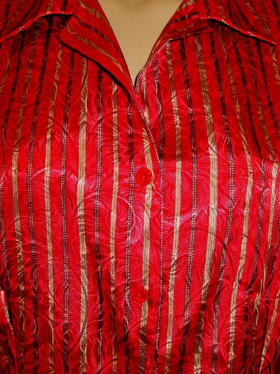 Primary image for Victoria's Secret Vintage Red Gold Stripe Brocade Sleep Top Shirt Satin Sissy-M
