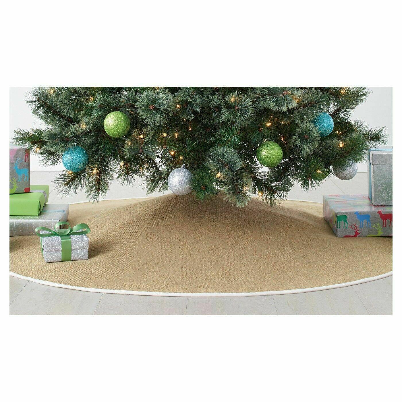 "NEW Wondershop for Target 56"" Diameter Burlap w White trim Christmas Tree Skirt"