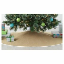 "NEW Wondershop for Target 56"" Diameter Burlap w White trim Christmas Tree Skirt"