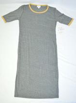 Lularoe Julia Gray Yellow Short Sleeve Knee Length Dress Small - $23.76