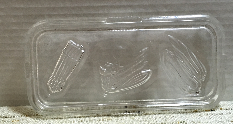 Vintage Federal Glass Refrigerator Dish with Embossed Vegetable Design on lid