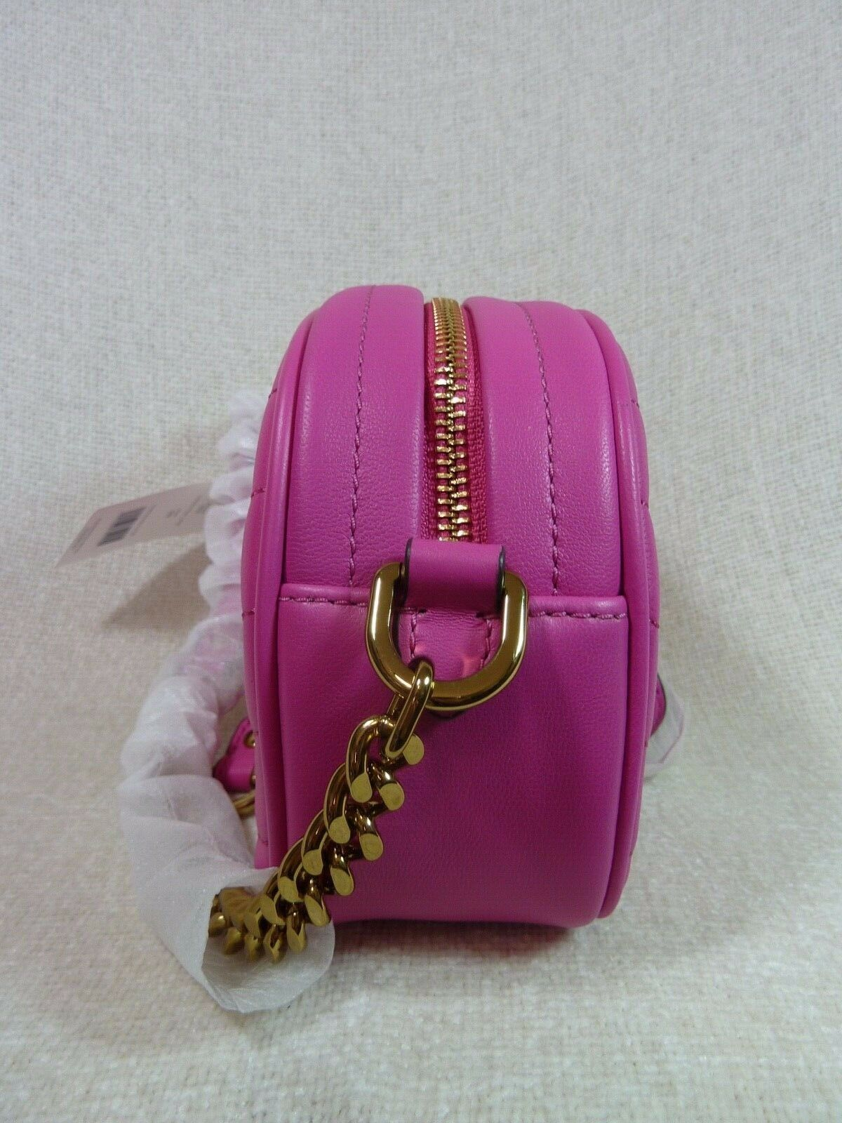NWT Tory Burch Crazy Pink Kira Chevron Small Camera Bag $358 image 3