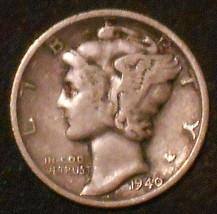 1940-S Silver Mercury Dime. Free Shipping!!!!!!!!!!!!!!! - $3.89