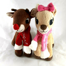 Rudolph the Red Nosed Reindeer & Clarice Christmas Deer 10 inches tall w Scarves - $14.10
