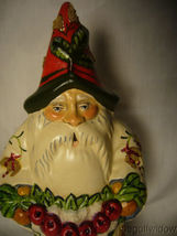 Vaillancourt Folk Art White Brocaded Santa with Red Apple Swag Signed  image 5