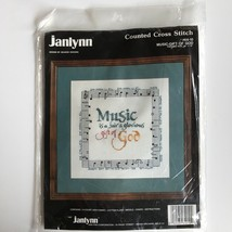 Janlynn MUSIC GIFT OF GOD Counted Cross Stitch Kit Religious Hymn Emmanu... - $14.46